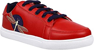 KazarMax Women Red Dragonfly Embroidery Sneakers Shoes