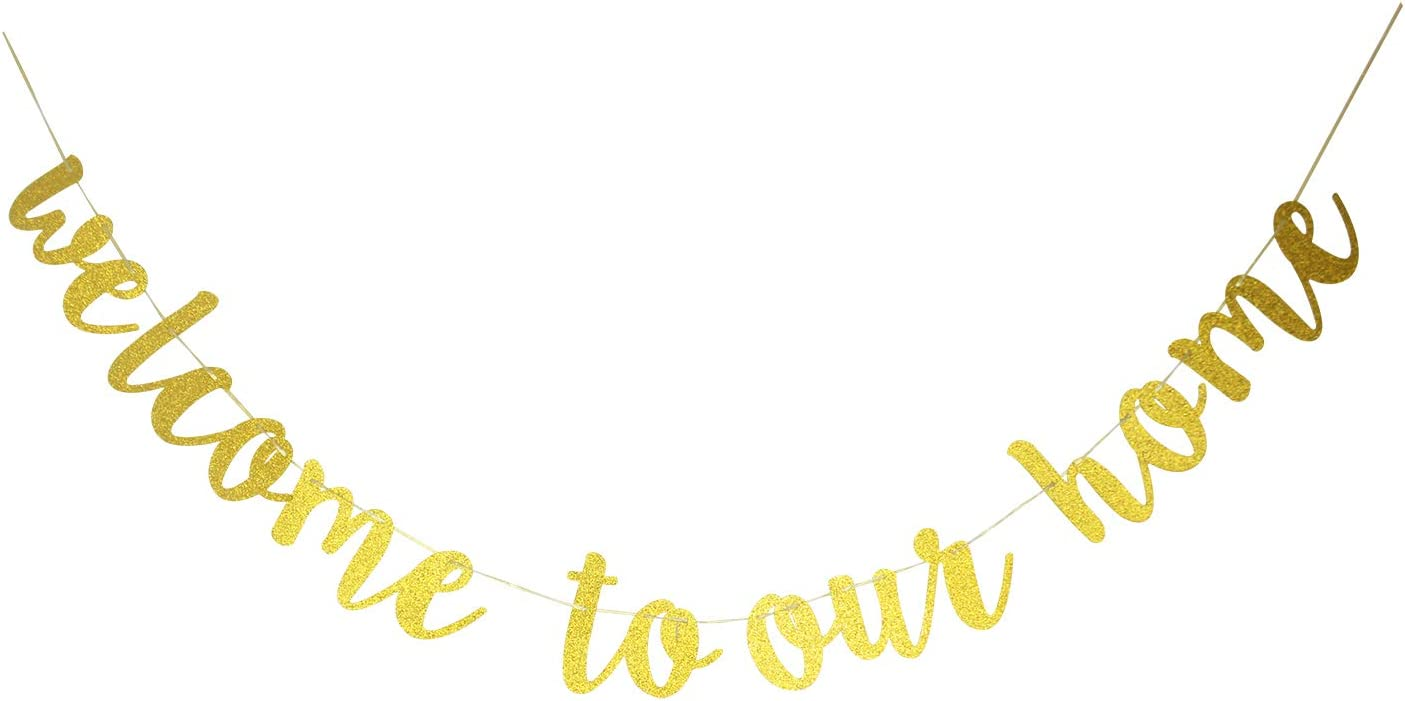 Starsgarden Glitter Gold Welcome to Our Home Banner for Housewarming Patriotic Military Decoration Family Party Supplies Cursive Bunting Photo Booth Props Sign(Gold Welcome Home)