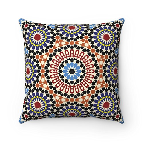 Tiles Mosaic Moroccan Original Cushion Covers - Moorish Arabesque Style Zellige Pillow Cover - Home Decor Cushion - 43 x 43 cm (Maroon Brown Blue & Black)