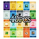 Pack of 40, The Elixir Beauty Nature Essence Collagen Full Face Facial Mask Sheet, 23ml x 40 Sheets
