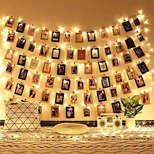 MeiGuiSha 70 LED Fotoclips Lichterkette mit 50 klaren Clips zum Aufhängen von Bildern, ideal für Schlafzimmer, Schlafzimmer, als Dekoration für Hochzeit, Warmweiß