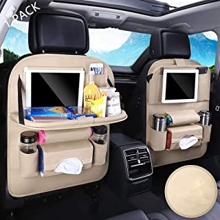 SIJAWEYI Car Backseat Organizer with Tablet Holder Protector Kick Mats for Kids Table Tray Foldable Dining Table with Tablet Holder Travel Accessories Organizer 1 Pack Beige