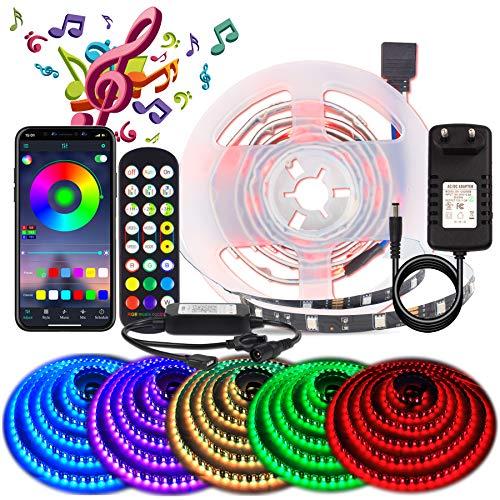 BIHRTC Striscia LED RGB 5050, con app, musicale, a LED, con funzione musicale, 30 LED, per la casa, la TV, la cucina, le feste, Natale