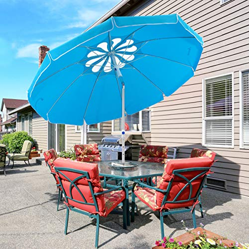 MOVTOTOP Sonnenschirm Balkon UV50+, Marktschirm Gartenschirm Terrassenschirm, Tragbarer Sonnenschutz Sonnenschirm für Balkon Garten Strand Camping(blau-1)