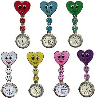 Weicam Heart Smile Face Nurse Hanging Wholesale Watch Clip On Fob Brooch Quartz Pocket Watch(7 Pack)