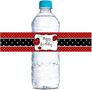 """Red Lucky Ladybug Themed Birthday Party Waterproof Water Bottle Sticker Wrappers, 20 1.75"""" x 8.5"""" Wrap Around Labels by Am..."""