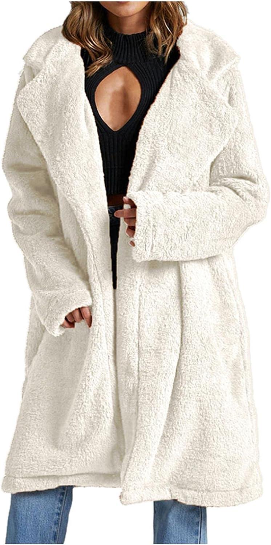Maiasfy Women's Lapel Oversized Open Front Hooded Draped Long Cardigan Coat Faux Fur Warm Winter Outwear Jackets with Pockets