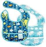 Bumkins Starter Bib, Baby Bib Infant, Waterproof, Washable, Stain and Odor Resistant, 3-9 Months, 2-Pack – Sea Friends & Whales
