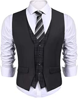 COOFANDY Men's Business Suit Vest layered Plaid Dress Waistcoat for Wedding, Date, Dinner
