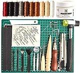 レザークラフト 工具 道具セット 初心者 キット 菱目打ち ステッチンググルーバー(7in1) 蝋引き系 針 カッター ゴムハンマー ホック打ち工具セット 皮 革 手縫い 革細工・DIY・手作り レザーツール 収納袋付き
