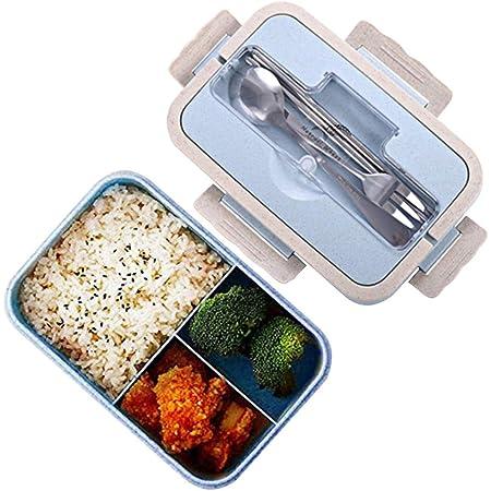 Thousanday Bento Box per Bambini 3 Scomparti e Posate per Microonde e Lavastoviglie Ideale per Adulto Blu