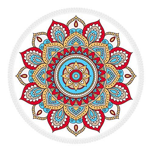 Olli Telo Mare Rotondo Paint Your Life 100% Microfibra con Frange, Made in Italy, ECOFRIENDLY, Telo Grande e Multiuso: Diametro 156 cm, Motivo Dubai Rosso
