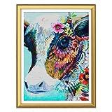 DIY Paint by Numbers Kit de pintura de vaca, flores y animales, pintura acrílica por números para adultos, pintura principiante, dibujo con pincel, para casa, oficina, decoración de pared, 40 x 50 cm