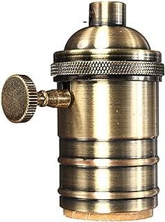 Brass Socket Vintage Lamp Socket E26 E27 with Switch Keyed Screw Thread DIY Bulb Holder for E27 Light Bulbs
