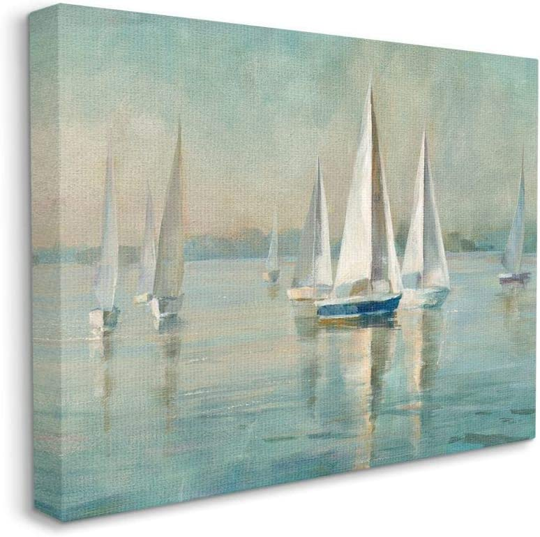 Stupell Industries Traditional Sailboats Water Lake Relaxed Nautical Painting, Designed by Danhui NAI Wall Art, 16 x 20, Canvas