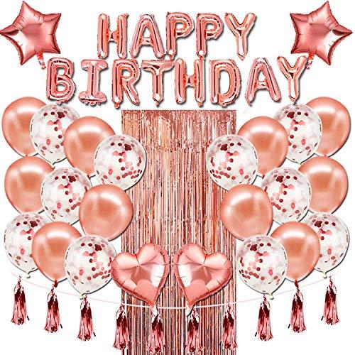 YIIFELL 50 Stück Geburtstagsdeko Rosegold Happy Birthday Girlande Konfetti Ballons ,Luftballons Rose Gold Konfetti Helium Ballons für Mädchen Kinder Geburtstag Luftballon Party Deko Marke: YIIFELL