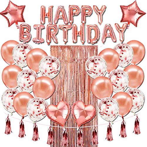 YIIFELL 50 Stück Geburtstagsdeko Rosegold Happy Birthday Girlande Konfetti Ballons ,Luftballons Rose Gold Konfetti Helium Ballons für Mädchen Kinder Geburtstag Luftballon Party Deko