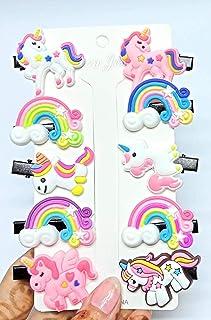 SHINAZ Unicorn Hairpin with Alligator/ Clips for Baby Girl's/ Unicorn Rainbow Clip/ Soft Clip/ Hair Clips pins/ Hair Acces...