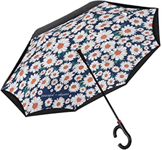 JPFXS Collection Inverted Reverse Dual-use Umbrella Men and Women Double Fold Creative Large Automatic Long Handle Umbrella (Color : A)