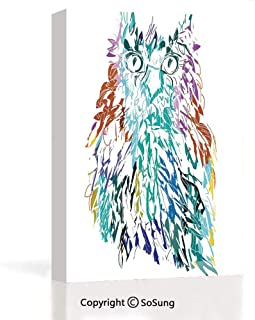 Oil Paintings Canvas Wall Art Work,Owl with Fluffy Swollen Colorful Feathers Large Eyes Vision Sage Camouflage Character Multi,24x36x1.5inches,Wall Decoration for Bedroom Living Room