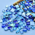 Mosaic Tiles Pieces 200 g Pack of Crystal Glass Colored Freestone Mosaic Tile Supplies for Home Decoration, DIY Crafts, Plates, Picture Frames, Flowerpots –Irregular Tiles (Blue)
