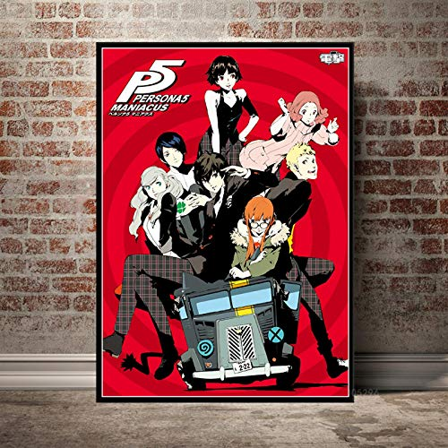 Persona 5 Poster Video Game Anime Cartoon Kid Painting Prints Wall Art Canvas Picture For Living Room Home Decor Gift a20 50X70cm