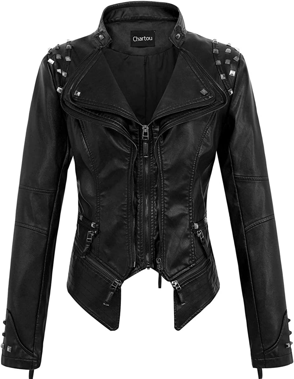 CHARTOU Women's Moto Studded Performance Slim Lapel Front Zip PU Leather Short Biker Jacket