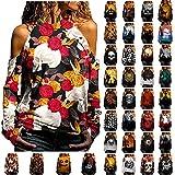 Blusa con hombros descubiertos: camiseta de manga larga para mujer, camiseta de manga larga, sudaderas de moda sexy, camiseta de manga larga, camisa básica, túnica, 03-marrón, S