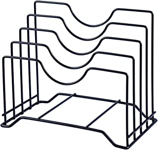 Cutting Board Holder Pot Lid rack Organizer can hold up to 1.18 inches thick Cutting Board,Bakeware,Baking Tray,Pan,Lid and Book (Black)