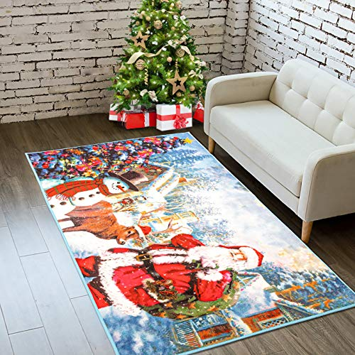 Goffee Christmas Area Rugs Santa Claus Indoor Rug for Xmas Holiday Decoration, Non-Slip Snowman Door Mat Christmas Welcome Carpet for Bedroom Living Room Kitchen Fireplace, 3ft x 5ft
