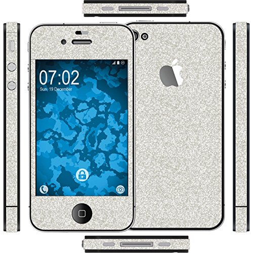 Preisvergleich Produktbild PhoneNatic 1 x Glitzer-Folienset für Apple iPhone 4S Silber Schutzfolien