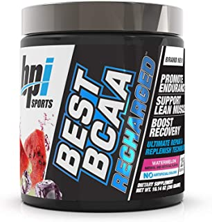 BPI Sports Best BCAA Recharged – Endurance, Muscle, Recovery – Leucine, Isoleucine, Valine – Green Tea – Taurine – Coconut Water – Electrolytes – for Men & Women – Watermelon– 25 Servings – 10.14 oz.