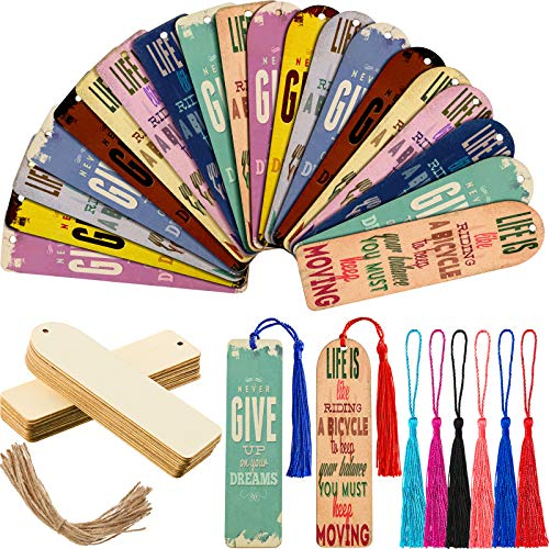 24 Pieces Rectangle Wooden Blank Bookmarks Craft with 6 Colors Tassels DIY Unfinished Wood Book Marker Tags for Book Lover Kid Birthday Present