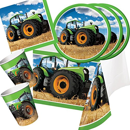 33-teiliges Party-Set Traktor - Teller Becher Servietten Tischdecke für 8 Kinder / Personen