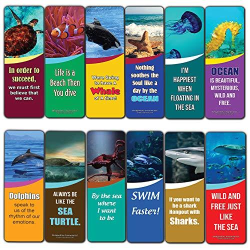 Creanoso Ocean Animals Kids Bookmarks (12-Pack) – Sea Animal Theme Reading Bookmarker Cards - Stocking Stuffers Gift for Kids, Children, Boys & Girls – Teacher and Classroom Rewards – School Gifts Set