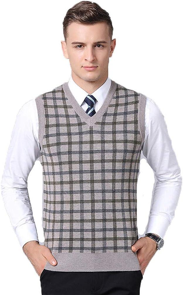 Sweater Vest Sleeveless Cardigan Male Keep Warm V-Neck Casual Men Grey XXXL