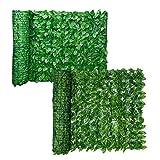 BSTQC Cribado de hojas artificiales, rollo de valla de enrejado expandible con hojas de hiedra, privacidad protegida contra el sol para proteger la pared de jardinería valla de jardín balcón pantalla