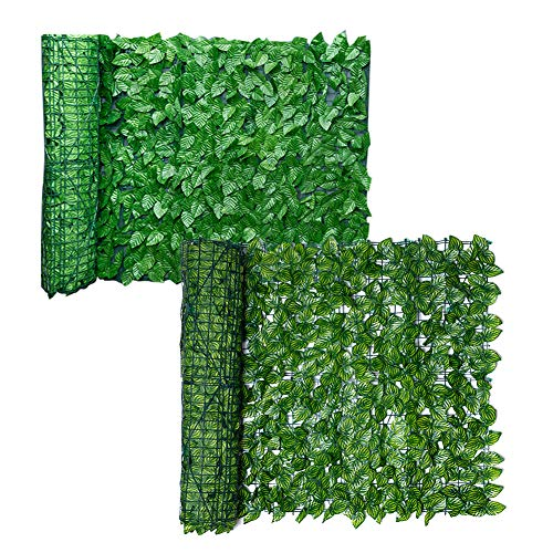 Artificial Leaf Screening, Expanding Trellis Fence Roll with Ivy Leaves, Sun Protected Privacy Hedging Wall Landscaping Garden Fence Balcony Screen - 0.5 x 3m