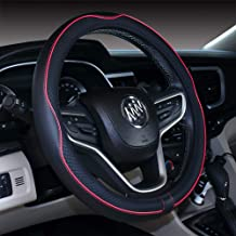 2019 New Black Red Microfiber Leather Steering Wheel Cover for F-150 Tundra Range Rover 15.5