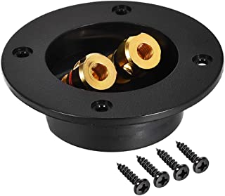 uxcell 2-Way Round Speaker Box Terminal Binding Post Stereo Screw Cup Connectors Subwoofer Plugs Black 1pcs