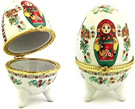 Matryoshka Porcelain Egg Shape Open Up Jewelry Decorative Keepsake Box 3 1/2 Inch