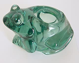 Indiana Glass Vintage Heavy Green Glass Frog Votive Candle Holder