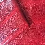 Stasy Cuero Tela PU De Imitacin Cuero 1,38  1 M Piel De Serpiente Anaconda 3D Tela De Tapicera Cuero Vinilo para Coser Bolso Moos Cabello Decoraciones Manualidades Coser Sof(Color:4 Red)