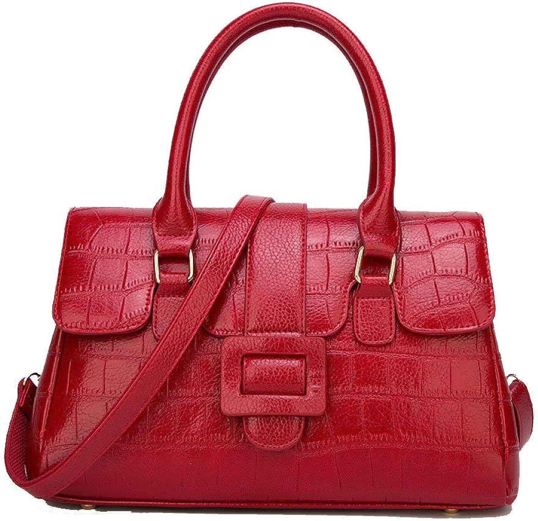 Huasen Evening Bag Women's Lychee Tote Trend Crossbody Bag Simple Versatile Shoulder Bag Party Handbag (color   Red, Size   341422cm)