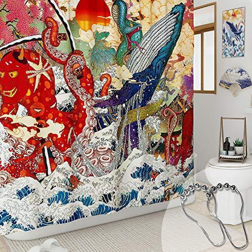 DESIHOM Japanischer Duschvorhang Anime Octopus Cool Wave Duschvorhang Neuheit Ocean Wal Polyester Wasserdicht Duschvorhang 183 x 183 cm