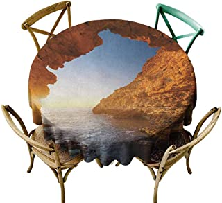 Waterproof Table Cover Beach Sunset in Pacific Paradise Ocean Cave with Morning Horizon Stone Calm Seacoast Art Cream Blue for Events Party Restaurant Dining Table Cover 55 INCH