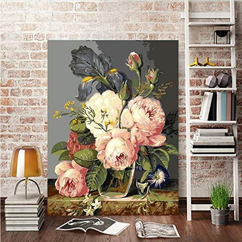 Vanzelu grote wit/roze bloemen schilderij op nummer op canvas olieverfschilderij foto van cijfers, geen lijst, geschenk van moeder (16 x 20 inch) Geen frame