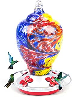 kemalida Hummingbird Feeders for Outdoors, 28 Ounces Hand Blown Glass Hummingbird Feeder with Upgraded Leak Proof Round Me...
