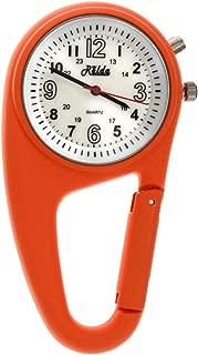 Relda Clip On Nurses Rubberised Orange Carabiner Light Pocket Fob Watch REL115
