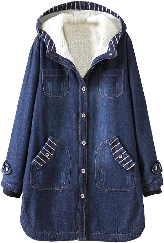 Hotmiss Women's Oversized Boyfriend Thick Fleece Denim Jacket Hooded Jean Outwear